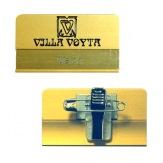 Jmenovka hliníková JPHV1PC, špendlík a klips, zlatá