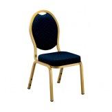 Banketní židle OPERA, zlatá/modrá