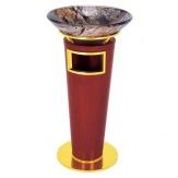 Stojanový koš s popelníkem GPX-33H, zlatý/dřevo