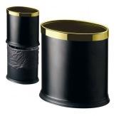 Koš kovový dvouplášťový GPX-45B-12, oválný, černá barva, zlatý kroužek